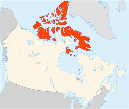 Map of the Canadian Arctic Archipelago highlighted in red