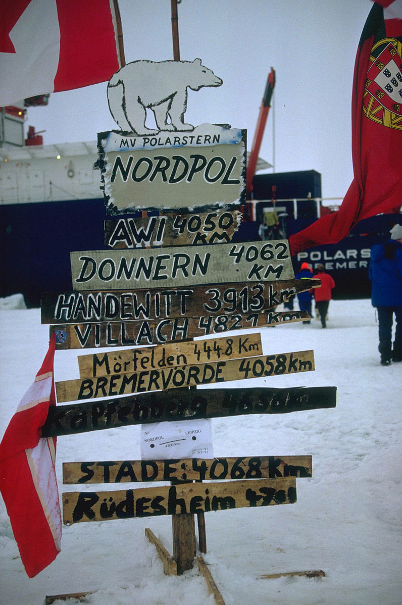 Sign of a road marker with polar bear on top and signs written in different languages for the North Pole