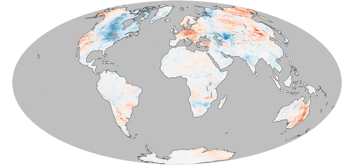 Global land surface temperature anomalies. Blue regions indicate colder than average temperatures, red regions indicate warmer than average temperatures.