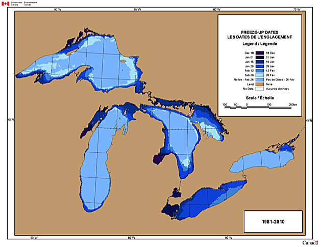Great Lakes Freeze-up dates (1981-2010)