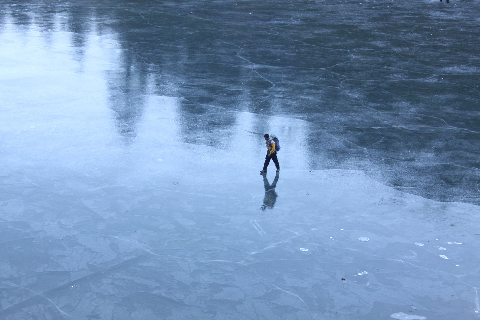 Person walking on ice