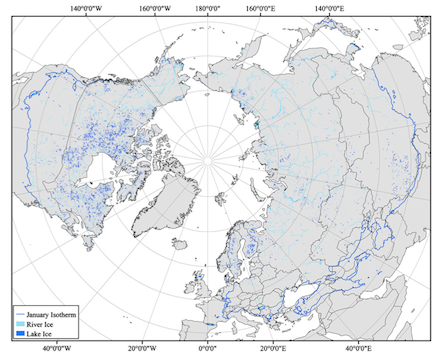 Freshwater ice distribution for rivers (light blue) and lakes (dark blue) in the circumpolar Arctic