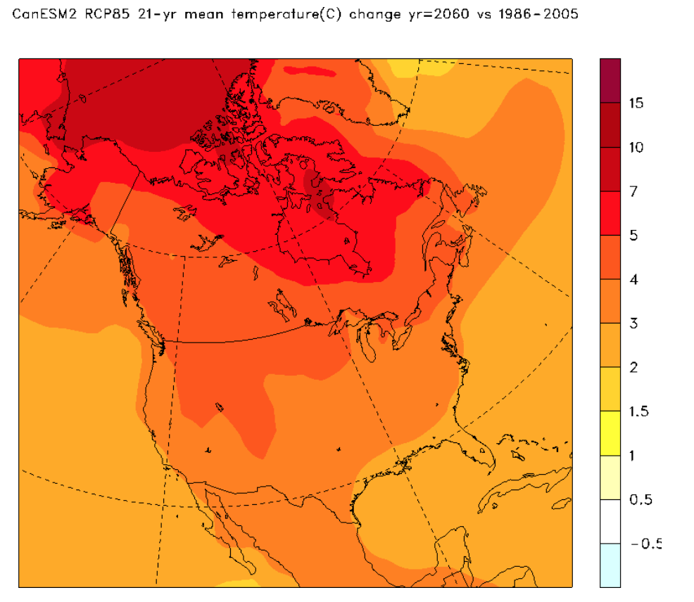 Projected mean air temperature for the year 2060