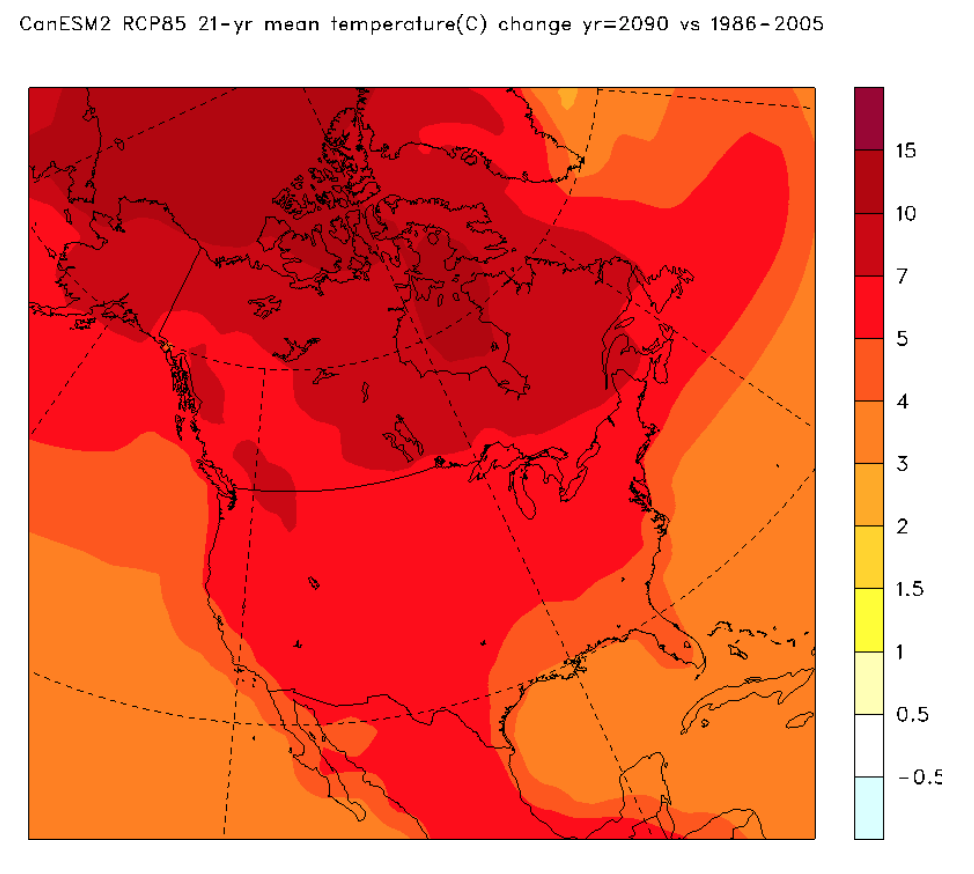 Projected mean air temperature for the year 2090
