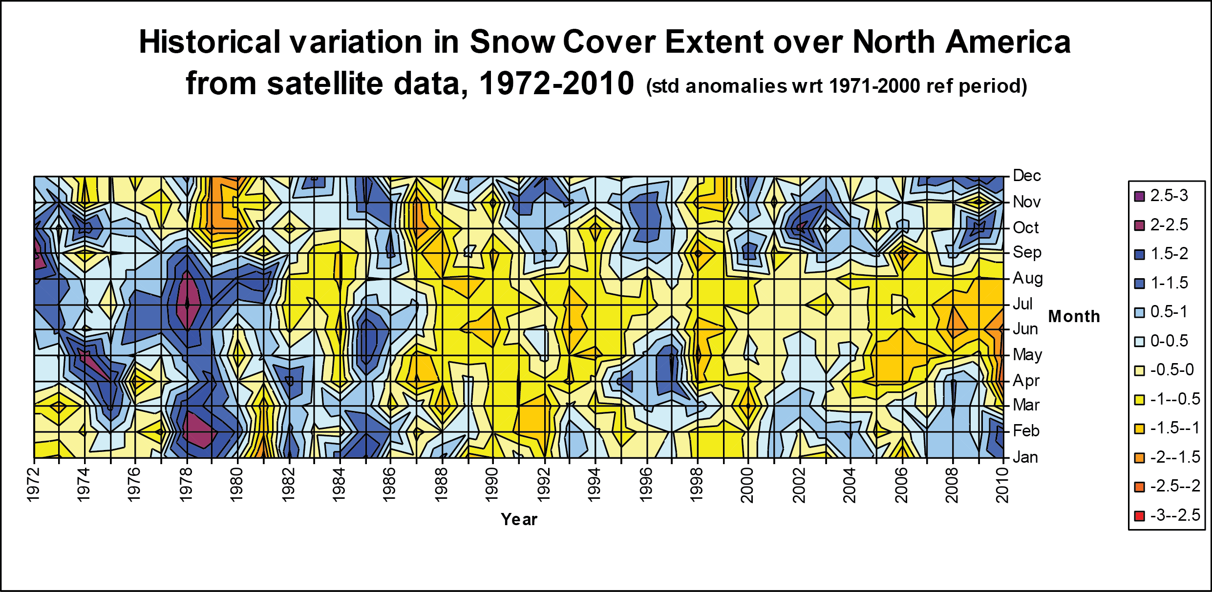 Satellite-derived contour plots of monthly snow cover extent over North America